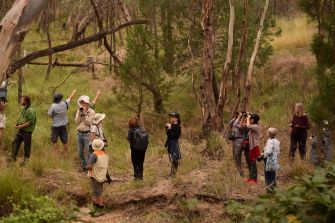 The Birding NSW group and community members at Company Dam in March 2021
