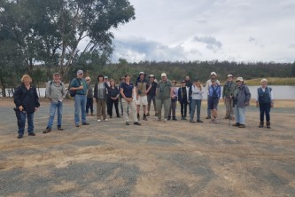 Birding NSW members with May Fleming from Central West Local Land Services at the Scones with the Swifties morning at Company Dam in March 2021